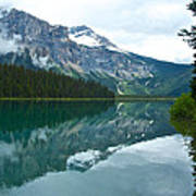 Morning Reflection In Emerald Lake In Yoho National Park-british Columbia-canada Art Print