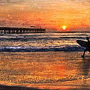 Morning Surf Print by Debra and Dave Vanderlaan