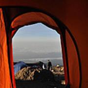 Morning View At The  Karanga Valley In 4000 Meters At Mount Kilimanjaro In Tanzania Art Print
