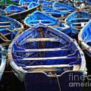Moroccan Blue Fishing Boats Art Print