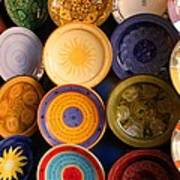 Moroccan Pottery On Display For Sale Art Print by Ralph A  Ledergerber-Photography