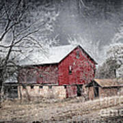 Morris County Red Barn In Snow Art Print