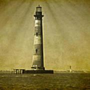 Morris Island Light Vintage Bw Uncropped Art Print
