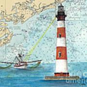 Morris Island Lighthouse Sc Nautical Chart Map Art Art Print