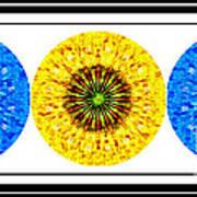 Mosaic Blue Circles With Yellow Art Print