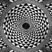 Mosaic Circle Symmetric Black And White Art Print
