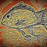 Mosaic Goldfish In Charcoal Art Print
