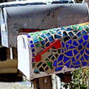 Mosaic Mailbox On The Turquoise Trail In New Mexico Art Print