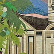 Mosaic Of Church With Palm Tree Art Print