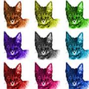Mosaic Savannah Cat - 5462 F - M - Wb Art Print