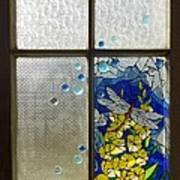 Mosaic Stained Glass - Dragonfly In The Window Art Print by Catherine Van Der Woerd