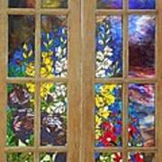 Mosaic Stained Glass - Flower Garden Print by Catherine Van Der Woerd