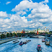Moscow Kremlin And Busy River Traffic Art Print