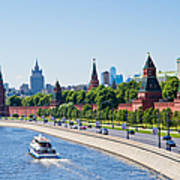 Moscow River And Kremlin Embankment In Summer - Featured 3 Art Print