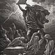 Moses Breaking The Tablets Of The Law Art Print by Gustave Dore