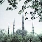 Mosque Behind Trees In Turkey Art Print