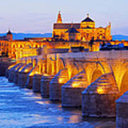 Mosque-cathedral And The Roman Bridge In Cordoba Art Print
