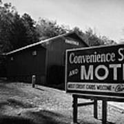 Motel Sign In Black And White Art Print