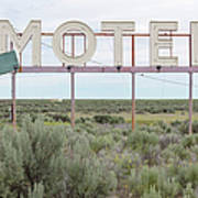 Motel Sign In Field Of Sage Brush, Out Art Print