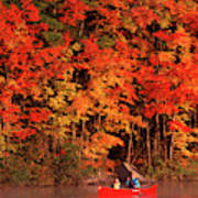 Mother And Son Canoeing Near Fall Art Print