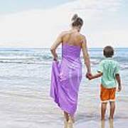 Mother And Son On Beach Art Print