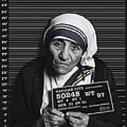 Mother Teresa Mug Shot Art Print