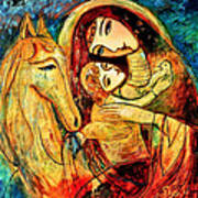 Mother With Child On Horse Art Print