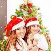 Mother With Daughter Celebrate Christmas Art Print by Anna Om
