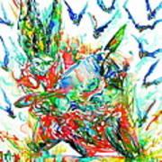 Motor Demon With Bats Art Print