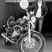 Motorbiker Looks On Dotingly Art Print