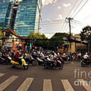 Motorbikes In Traffic Art Print