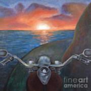 Motorcycle Sunset Art Print