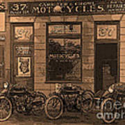 Motorcycles And Furnished Rooms Art Print