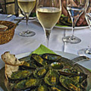 Moules And Chardonnay Art Print by Allen Sheffield