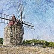Moulin De Daudet Fontvieille France On A Texture Dsc01833 Art Print