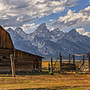 Moulton Barn Panorama - Grand Teton National Park Wyoming Art Print