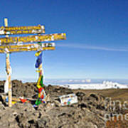 Mount Kilimanjaro Summit Sign In 5.895 Meters With Northern Ice Fields Beyond  Art Print