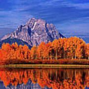 Mount Moran And Fall Color Grand Tetons Art Print