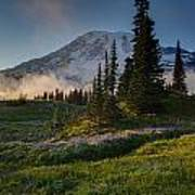 Mount Rainier Evening Fog Art Print