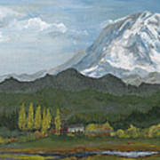 Mount Rainier From Lake Rap John  Art Print