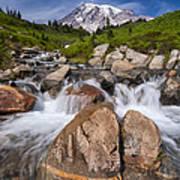 Mount Rainier Glacial Flow Print by Adam Romanowicz