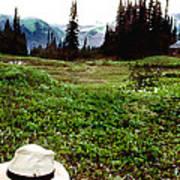 Mount Ranier Cabin Art Print