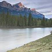 Mount Rundle And The Bow River At Sunrise Art Print
