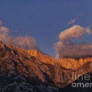 Mount Whitney In Clouds Alabama Hills Eastern Sierras California  Art Print
