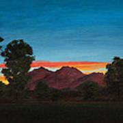 Mountain At Night Art Print