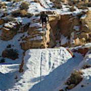 Mountain Biker Jumping With Snowy Art Print