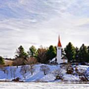 Mountain Church In Winter Art Print