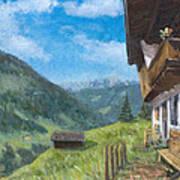 Mountain Farm In Austria Art Print