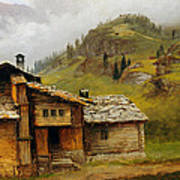 Mountain House  Art Print by Albert Bierstadt