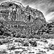 Mountain In Winter - Bw Art Print